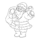 Coloring book for children: Santa Claus and bell Royalty Free Stock Photos