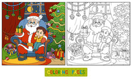 Coloring book for children: Santa Claus gives a gift Stock Photography
