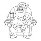 Coloring book for children: Santa Claus gives a gift a little bo Royalty Free Stock Photo