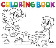 Coloring book children on seesaw theme 1 Stock Photography