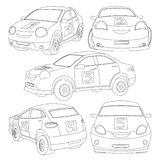 Coloring book for children with a set of cars, vehicles. vector illustration