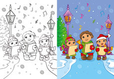 Coloring Book Of Children Sing Christmas Carols Royalty Free Stock Photos