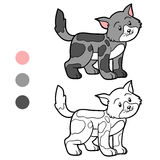 Coloring book for children (spotted cat) Stock Photos