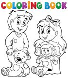 Coloring book children with toys 1 Royalty Free Stock Photos