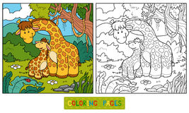 Coloring book for children (two giraffes) Stock Image
