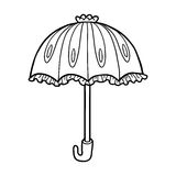 Coloring Book Girl Running With An Umbrella In The Rain