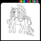 Coloring book for children. Unicorn with long hair and wings. Coloring book pages. Pony, horse theme vector illustration
