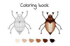 Coloring book for children. vector illustration of the may beetl stock illustration