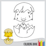 Coloring book for children (vector). One list of coloring book, lovely small chick in egg shell, vector Stock Photos