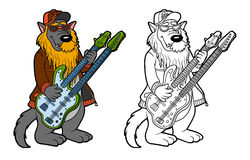 Coloring book for children: wolf and two-neck guitar Royalty Free Stock Photography