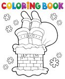 Coloring book chimney with Santa Claus. Eps10 vector illustration Stock Image