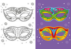 Coloring Book Of Christmas Carnival Masks Stock Image