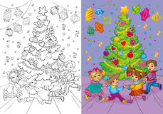 Coloring Book Of Christmas Carnival Rounde Dance Stock Photo