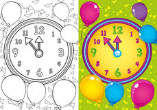 Coloring Book Of Christmas Clock And Balls. Vector illustration of Christmas clock and balls for coloring page for kids royalty free illustration