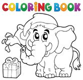Coloring book Christmas elephant Stock Image