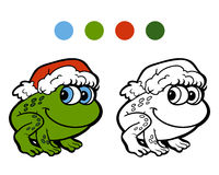 Coloring book: Christmas frog Royalty Free Stock Photos