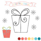 Coloring book with Christmas gift. Winter scene in  illustration. Royalty Free Stock Photos