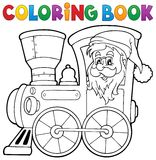 Coloring book Christmas locomotive 1 Royalty Free Stock Images