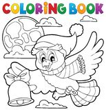 Coloring book Christmas owl theme 1 Royalty Free Stock Image