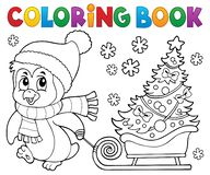Free Coloring Book Christmas Penguin Topic 7 Stock Photo - 164812630