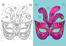 Coloring Book Of Christmas Purple Carnival Mask Stock Images