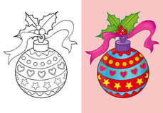 Coloring Book Of Christmas Red Ball. Vector illustration of decorated Christmas red ball for coloring page for kids Royalty Free Stock Photo
