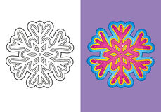Coloring Book Of Christmas Snowflake Stock Images