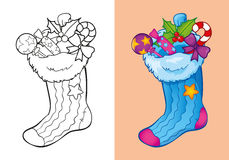 Coloring Book Of Christmas Sock With Candies. Vector illustration of Christmas sock with candies and toys for coloring page for kids Stock Photo