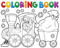 Coloring book Christmas train 1 Stock Photos