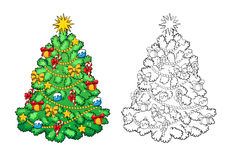 Coloring book. Christmas tree with decorations. Card concept. Royalty Free Stock Photos