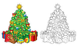 Coloring book. Christmas tree with decorations and gifts. Royalty Free Stock Photo