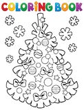 Coloring book Christmas tree topic 3 Royalty Free Stock Images
