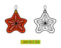 Coloring book, Christmas tree toy, star Royalty Free Stock Photos
