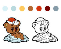 Coloring book: Christmas winter bear Stock Photography
