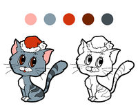 Coloring book: Christmas winter cat. Game for children Royalty Free Stock Photos
