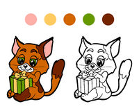 Coloring book: Christmas winter cat with gift. Game for children Stock Photography
