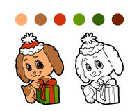 Coloring book: Christmas winter dog Royalty Free Stock Image
