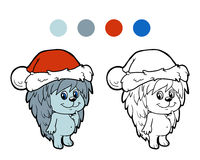 Coloring book: Christmas winter hedgehog Stock Photos