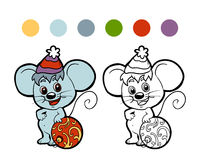 Coloring book: Christmas winter mouse Royalty Free Stock Photo