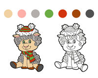 Coloring book: Christmas winter sheep Royalty Free Stock Photo