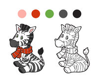 Coloring book: Christmas winter zebra Royalty Free Stock Photography