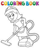 Coloring book cleaning lady 1 Stock Images