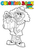 Coloring book with clown and gift. Illustration Stock Photos