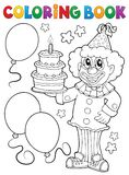 Coloring book clown holding cake Stock Image