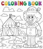 Coloring book clown near circus theme 1 Stock Photography
