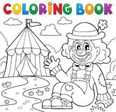 Coloring book clown near circus theme 2 Stock Images