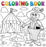 Coloring book clown near circus theme 5 Royalty Free Stock Image