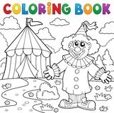Coloring book clown near circus theme 6 Royalty Free Stock Photos