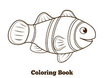 Coloring book clownfish fish cartoon vector Royalty Free Stock Image