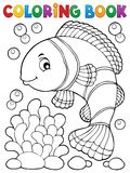 Coloring book clownfish topic 1 Royalty Free Stock Images